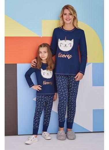 Roly Poly Rolypoly Caticorn Smiley Kadın Pijama Takımı Lacivert